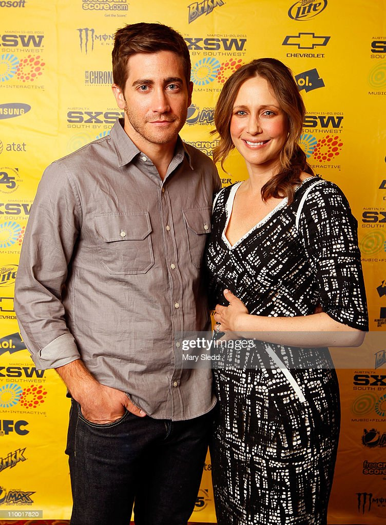 Actors <a gi-track='captionPersonalityLinkClicked' href=/galleries/search?phrase=Jake+Gyllenhaal&family=editorial&specificpeople=201833 ng-click='$event.stopPropagation()'>Jake Gyllenhaal</a> and <a gi-track='captionPersonalityLinkClicked' href=/galleries/search?phrase=Vera+Farmiga&family=editorial&specificpeople=227012 ng-click='$event.stopPropagation()'>Vera Farmiga</a> attend the 2011 SXSW Music, Film + Interactive Festival 'Source Code' Premiere at Paramount Theater on March 11, 2011 in Austin, Texas.