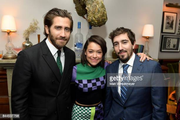 Actors Jake Gyllenhaal Tatiana Maslany and Jeff Bauman attend 'Stronger' premiere party hosted by GREY GOOSE vodka and Soho House on September 8 2017...