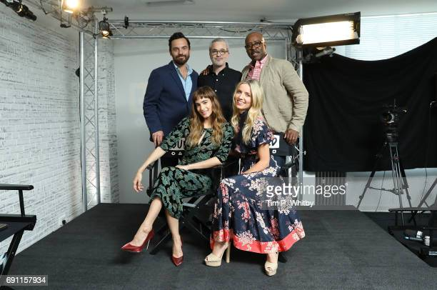 Actors Jake Johnson Sofia Boutella Director Alex Kurtzman actors Annabelle Wallis and Courtney B Vance pose for a photo after speaking about 'The...