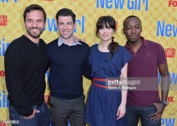 Actors Jake M Johnson Max Greenfield Zooey Deschanel and Lamorne Morris arrive to The Academy of Television Arts Sciences' screening of Fox's 'New...