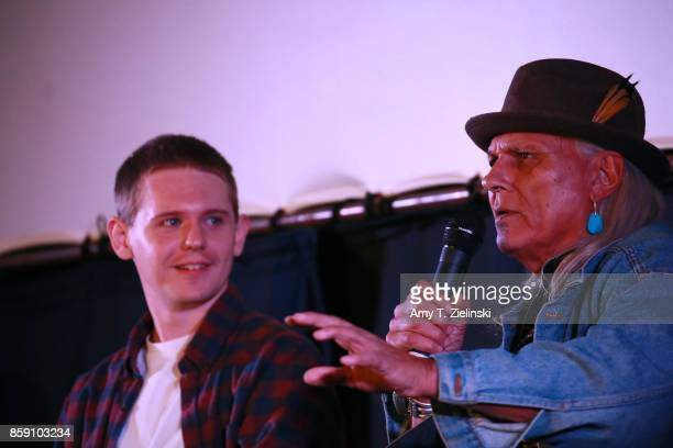 Actors Jake Wardle and Michael Horse answer questions on stage during the Twin Peaks UK Festival 2017 at Hornsey Town Hall Arts Centre on October 8...