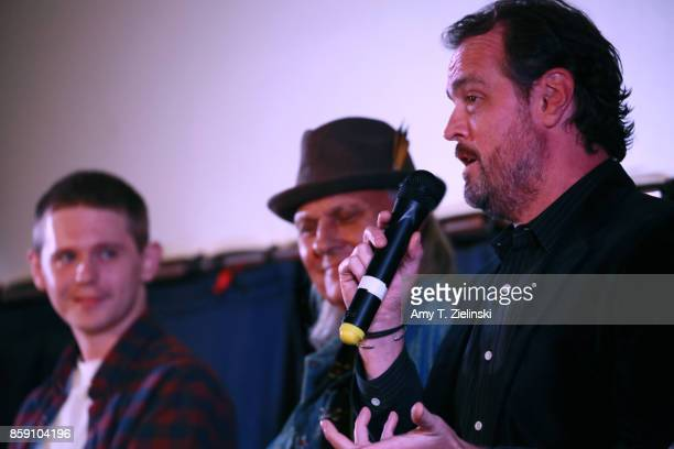Actors Jake Wardle Michael Horse and Sean Bolger answer questions on stage during the Twin Peaks UK Festival 2017 at Hornsey Town Hall Arts Centre on...