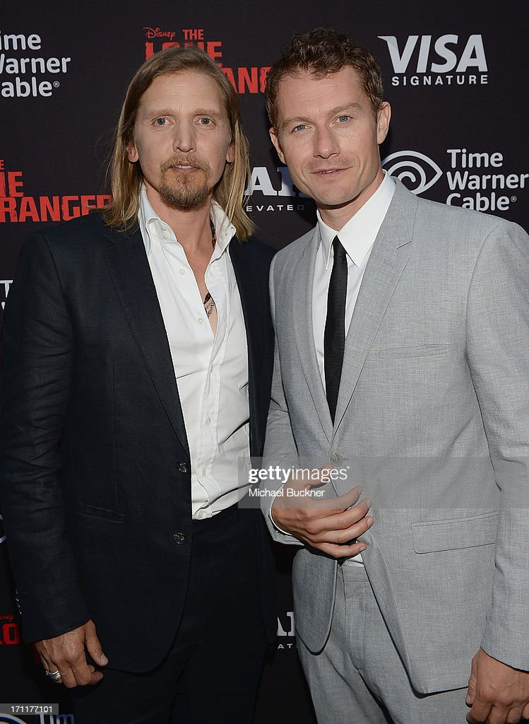 Actors James Badge Dale and Barry Pepper attend The World Premiere of Disney/Jerry Bruckheimer Films' 'The Lone Ranger' at Disney California...