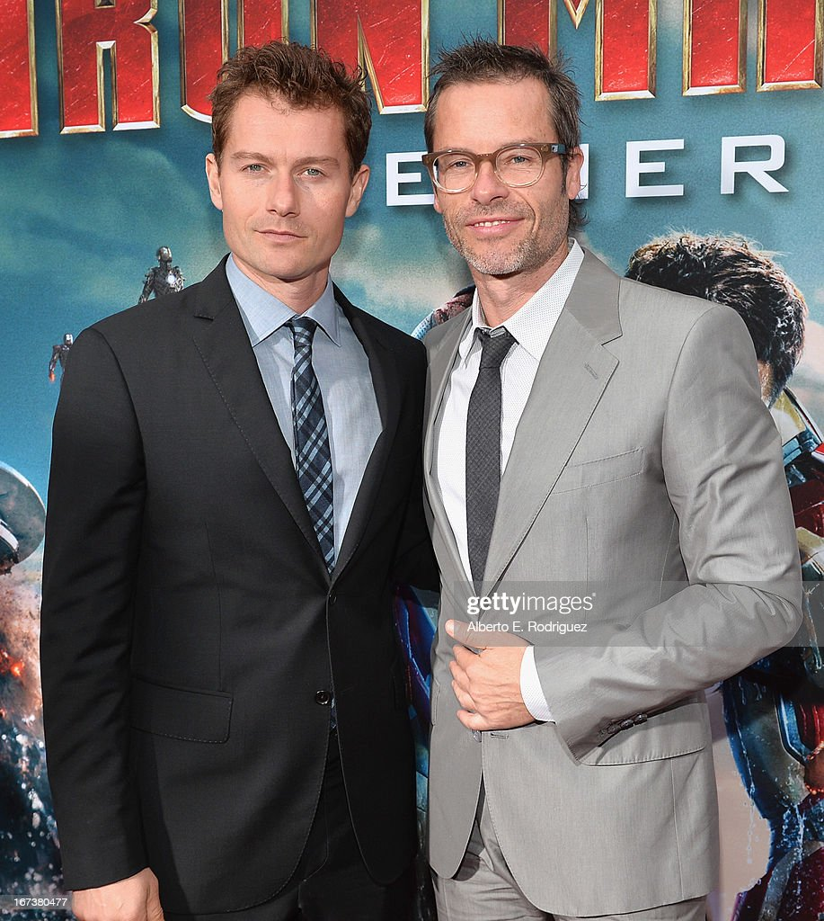 Actors James Badge Dale and Guy Pearce attend Marvel's' Iron Man 3 Premiere at the El Capitan Theatre on April 24 2013 in Hollywood California