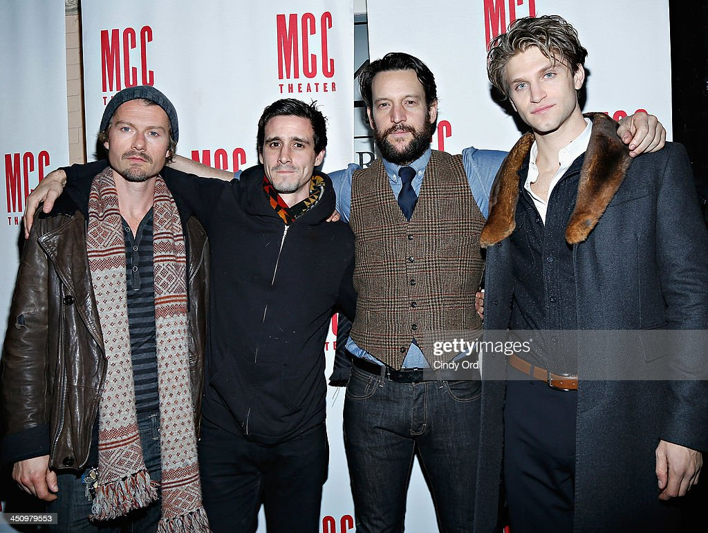 Actors James Badge Dale James Ransone John Pollono and Keegan Allen attend the 'Small Engine Repair' Opening Night after party at 49 Grove on...