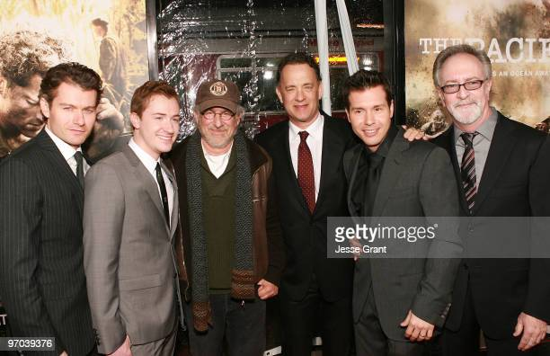 Actors James Badge Dale Joe Mazzello executive producers Steven Spielberg Tom Hanks actor Jon Seda and executive producer Gary Goetzman arrive to...
