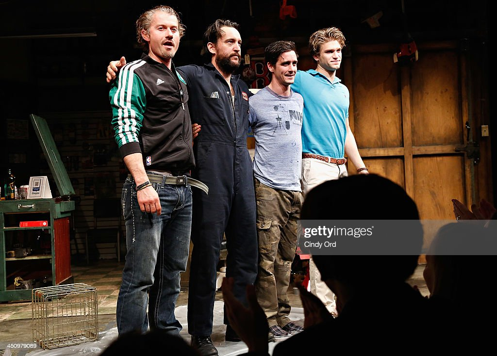 Actors James Badge Dale John Pollono James Ransone and Keegan Allen participate in the opening night curtain call for 'Small Engine Repair' at...