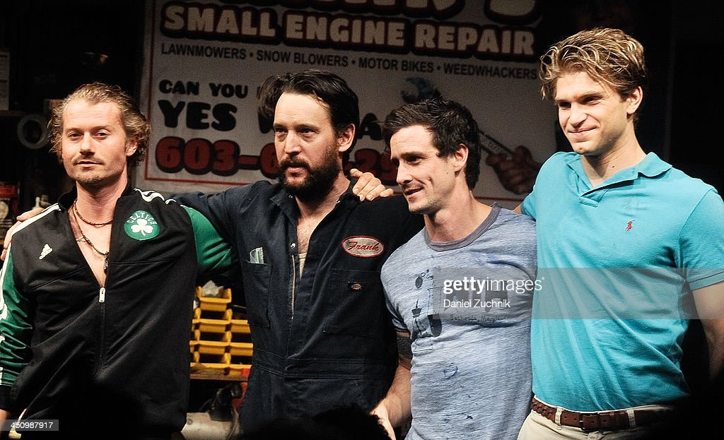 Actors James Badge Dale John Pollono James Ransone and Keegan Allen perform during the 'Small Engine Repair' Opening Night at Lucille Lortel Theatre...