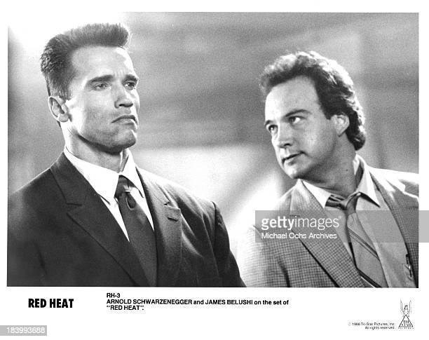 Actors James Belushi and Arnold Schwarzenegger on the set of the TriStar movie 'Red Heat' in 1988