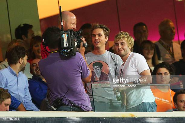 Actors James Buckley and Joe Thomas are seen being interviewed during the Big Bash League match between the Sydney Sixers and the Hobart Hurricanes...