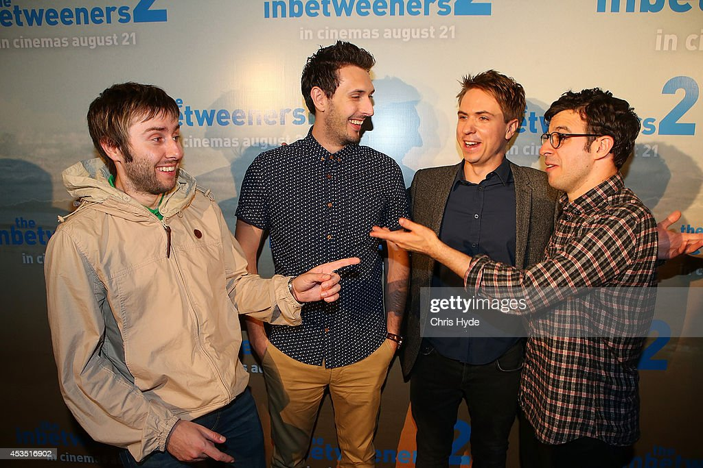 Actors (L-R) James Buckley, <a gi-track='captionPersonalityLinkClicked' href=/galleries/search?phrase=Blake+Harrison&family=editorial&specificpeople=5800049 ng-click='$event.stopPropagation()'>Blake Harrison</a>, Joe Thomas and <a gi-track='captionPersonalityLinkClicked' href=/galleries/search?phrase=Simon+Bird&family=editorial&specificpeople=4877799 ng-click='$event.stopPropagation()'>Simon Bird</a> pose at the Queensland Premier of The Inbetweeners 2 at Event Cinemas, Robina on August 12, 2014 in Gold Coast, Australia. The Inbetweeners 2 will be released on 21 August 2014.