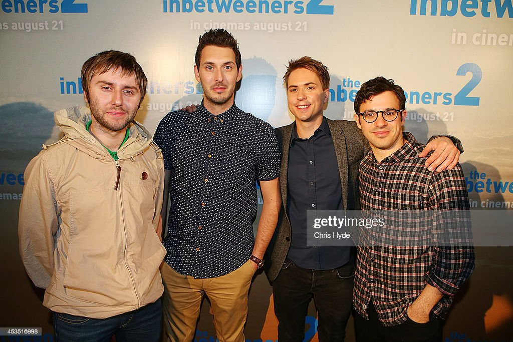 Actors (L-R) James Buckley, Blake Harrison, Joe Thomas and Simon Bird pose at the Queensland Premier of The Inbetweeners 2 at Event Cinemas, Robina on August 12, 2014 in Gold Coast, Australia. The Inbetweeners 2 will be released on 21 August 2014.