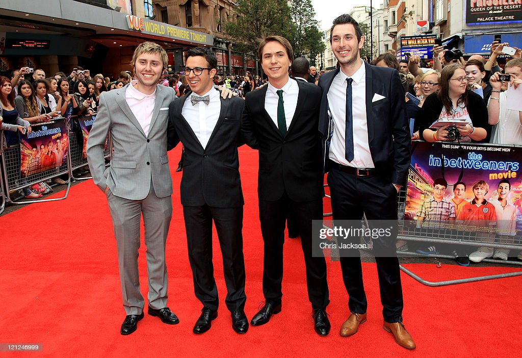 Actors James Buckley, <a gi-track='captionPersonalityLinkClicked' href=/galleries/search?phrase=Simon+Bird&family=editorial&specificpeople=4877799 ng-click='$event.stopPropagation()'>Simon Bird</a>, Joe Thomas and <a gi-track='captionPersonalityLinkClicked' href=/galleries/search?phrase=Blake+Harrison&family=editorial&specificpeople=5800049 ng-click='$event.stopPropagation()'>Blake Harrison</a> attend the world film premiere of The Inbetweeners Movie at Vue West End on August 16, 2011 in London, England.