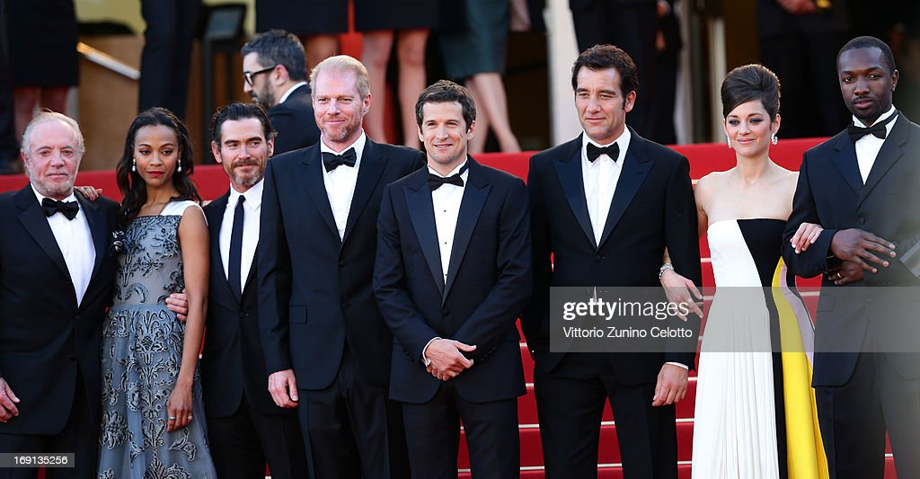 Actors James Caan, Zoe Saldana, Billy Crudup and Noah Emmerich, director Guillaume Canet and actors Clive Owen, Marion Cotillard and Jamie Hector attend the 'Blood Ties' Premiere during the 66th Annual Cannes Film Festival at the Palais des Festivals on May 20, 2013 in Cannes, France.