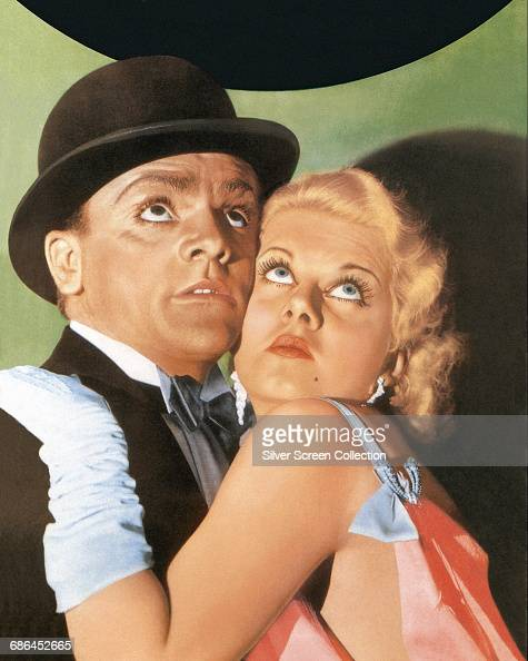 Actors James Cagney as Tom Powers and Jean Harlow as Gwen Allen in a publicity still for the gangster film 'The Public Enemy' 1931