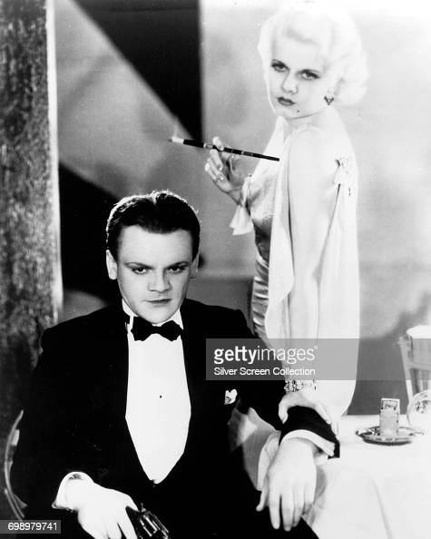 Actors James Cagney as Tom Powers and Jean Harlow as Gwen Allen in a publicity still for the film 'The Public Enemy' 1931