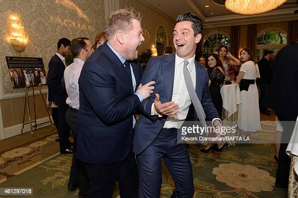 Actors James Corden and Dominic Cooper attend the BAFTA Los Angeles Tea Party at The Four Seasons Hotel Los Angeles At Beverly Hills on January 10...