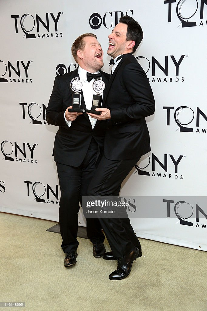 Actors <a gi-track='captionPersonalityLinkClicked' href=/galleries/search?phrase=James+Corden&family=editorial&specificpeople=673860 ng-click='$event.stopPropagation()'>James Corden</a>, winner of Best Performance by a Leading Actor in a Play for 'One Man, Two Guvnors' and <a gi-track='captionPersonalityLinkClicked' href=/galleries/search?phrase=Steve+Kazee&family=editorial&specificpeople=5624843 ng-click='$event.stopPropagation()'>Steve Kazee</a>, winner of Best Performance by a Leading Actor in a Musical for 'Once' pose in the 66th Annual Tony Awards press room at The Beacon Theatre on June 10, 2012 in New York City.