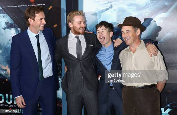Actors James D'Arcy Jack Lowden Barry Keoghan and Mark Rylance attend the 'DUNKIRK' New York premiere at AMC Lincoln Square IMAX on July 18 2017 in...