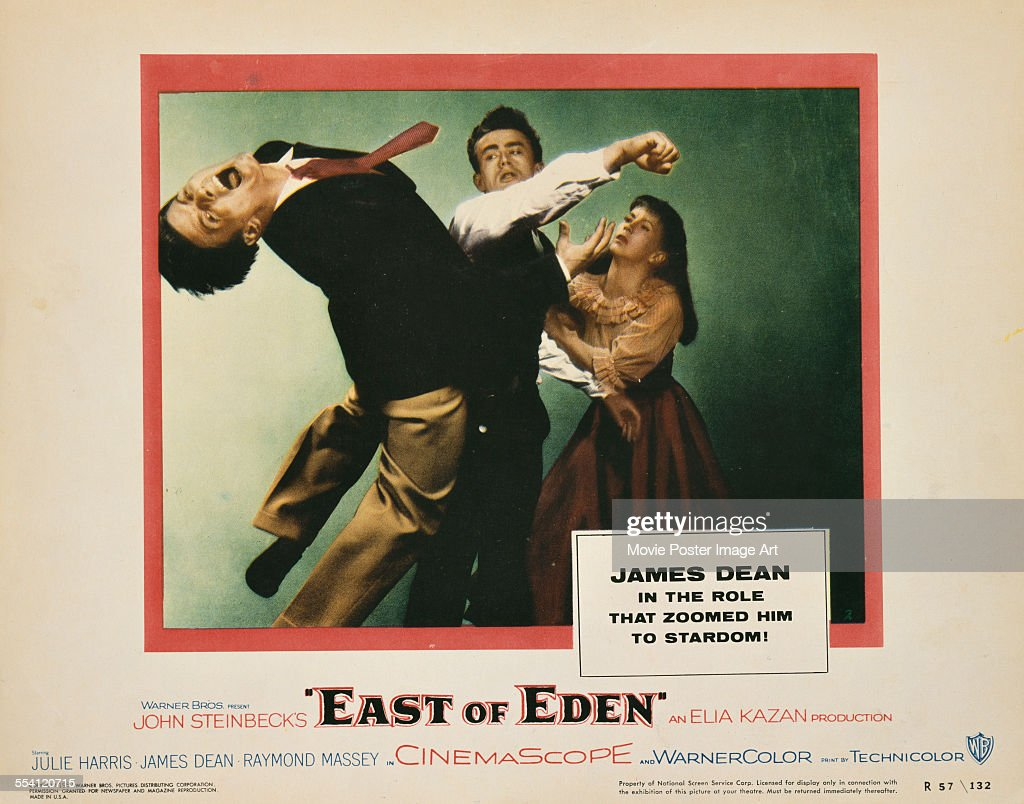 Actors James Dean and Julie Harris appear on a US lobby card for the Warner Bros film 'East Of Eden' 1955