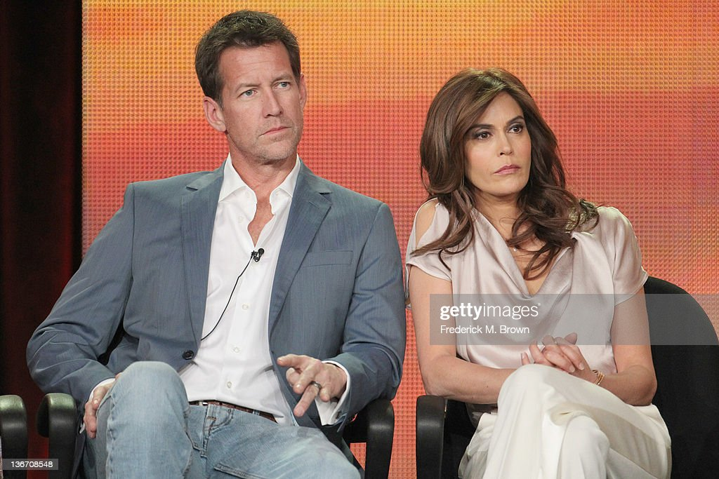 Actors <a gi-track='captionPersonalityLinkClicked' href=/galleries/search?phrase=James+Denton&family=editorial&specificpeople=211169 ng-click='$event.stopPropagation()'>James Denton</a> (L) and <a gi-track='captionPersonalityLinkClicked' href=/galleries/search?phrase=Teri+Hatcher&family=editorial&specificpeople=202145 ng-click='$event.stopPropagation()'>Teri Hatcher</a> speak during the 'Desperate Housewives' panel during the ABC portion of the 2012 Winter TCA Tour held at The Langham Huntington Hotel and Spa on January 10, 2012 in Pasadena, California.
