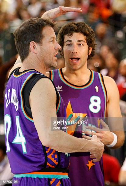 Actors James Denton and Zachary Levi attend the McDonald's AllStar Celebrity Game held at the Phoenix Convention Center on February 13 2009 in...