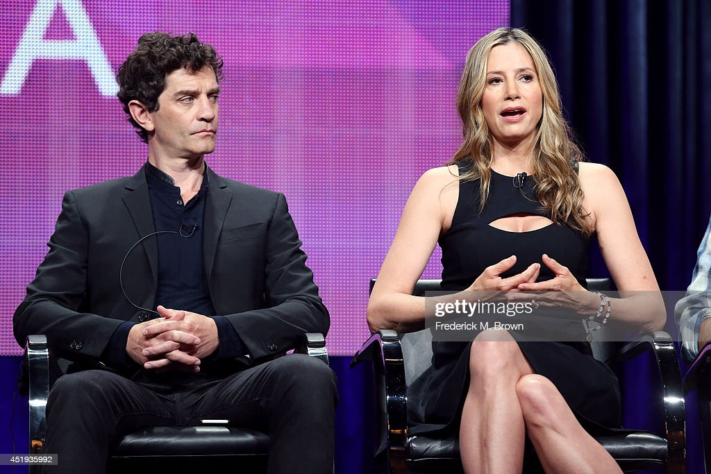 Actors <a gi-track='captionPersonalityLinkClicked' href=/galleries/search?phrase=James+Frain&family=editorial&specificpeople=2240982 ng-click='$event.stopPropagation()'>James Frain</a> (L) and <a gi-track='captionPersonalityLinkClicked' href=/galleries/search?phrase=Mira+Sorvino&family=editorial&specificpeople=203143 ng-click='$event.stopPropagation()'>Mira Sorvino</a> speak onstage at the 'Intruders' panel during the BBC America portion of the 2014 Summer Television Critics Association at The Beverly Hilton Hotel on July 9, 2014 in Beverly Hills, California.