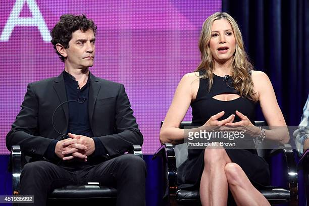 Actors James Frain and Mira Sorvino speak onstage at the 'Intruders' panel during the BBC America portion of the 2014 Summer Television Critics...