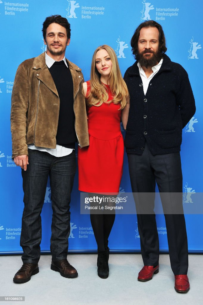 Actors <a gi-track='captionPersonalityLinkClicked' href=/galleries/search?phrase=James+Franco&family=editorial&specificpeople=577480 ng-click='$event.stopPropagation()'>James Franco</a>, <a gi-track='captionPersonalityLinkClicked' href=/galleries/search?phrase=Amanda+Seyfried&family=editorial&specificpeople=216619 ng-click='$event.stopPropagation()'>Amanda Seyfried</a> and <a gi-track='captionPersonalityLinkClicked' href=/galleries/search?phrase=Peter+Sarsgaard&family=editorial&specificpeople=210547 ng-click='$event.stopPropagation()'>Peter Sarsgaard</a> attend the 'Lovelace' Photocall during the 63rd Berlinale International Film Festival at Grand Hyatt Hotel on February 9, 2013 in Berlin, Germany.