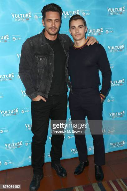 Actors James Franco and Dave Franco attend the Vulture Festival Los Angeles at the Hollywood Roosevelt Hotel on November 18 2017 in Hollywood...