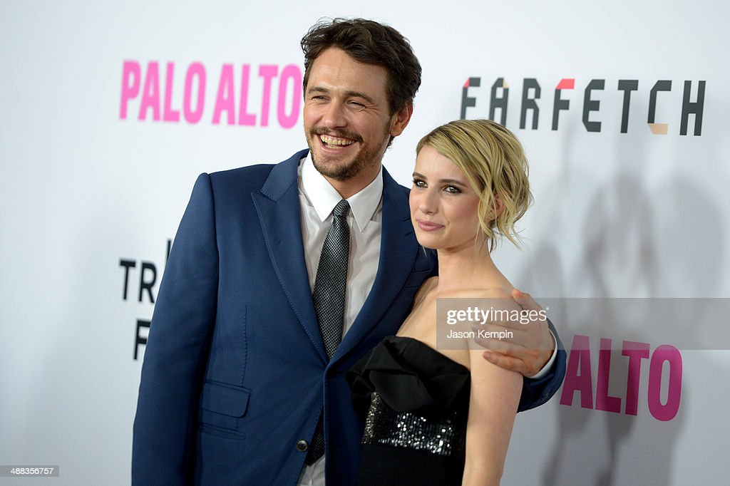 Actors James Franco and Emma Roberts attend the premiere of Tribeca Film's 'Palo Alto' at Directors Guild Of America on May 5, 2014 in Los Angeles, California.