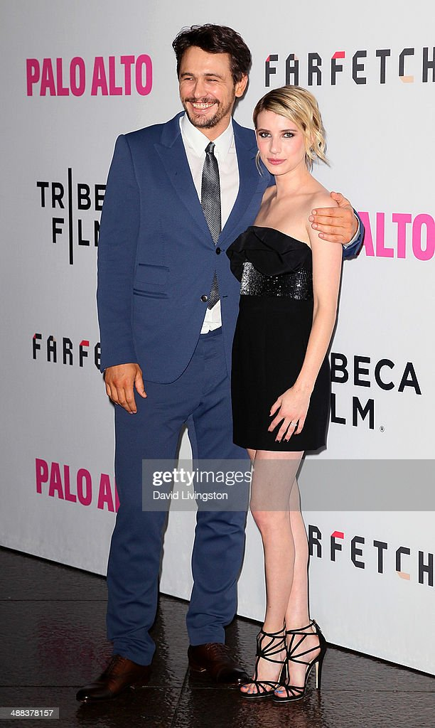 Actors James Franco (L) and Emma Roberts attend the premiere of Tribeca Film's 'Palo Alto' at the Directors Guild of America on May 5, 2014 in Los Angeles, California.