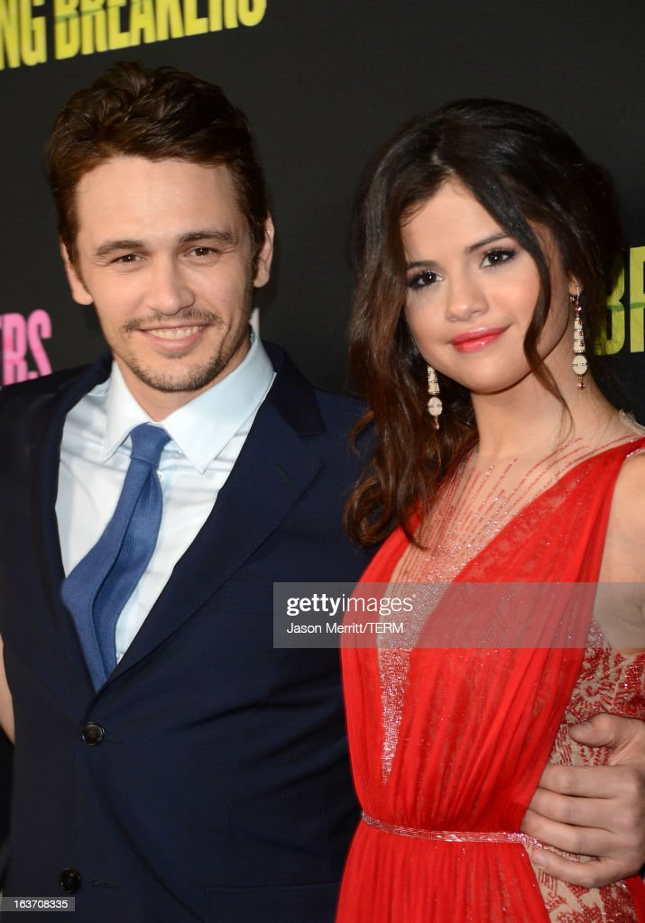 Actors <a gi-track='captionPersonalityLinkClicked' href=/galleries/search?phrase=James+Franco&family=editorial&specificpeople=577480 ng-click='$event.stopPropagation()'>James Franco</a> and <a gi-track='captionPersonalityLinkClicked' href=/galleries/search?phrase=Selena+Gomez&family=editorial&specificpeople=4295969 ng-click='$event.stopPropagation()'>Selena Gomez</a> attend the 'Spring Breakers' premiere at ArcLight Cinemas on March 14, 2013 in Hollywood, California.