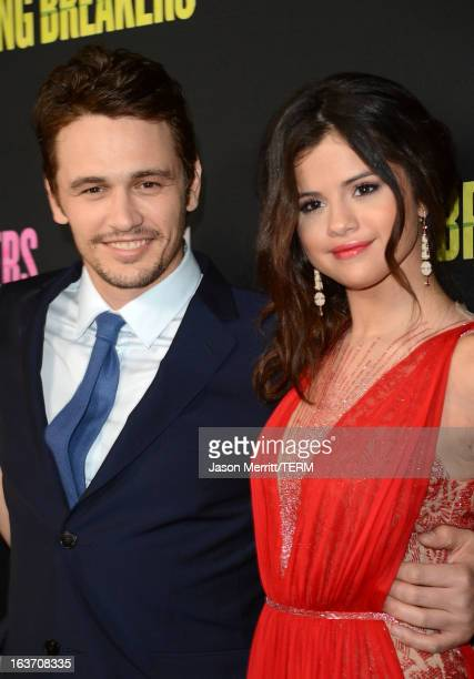 Actors James Franco and Selena Gomez attend the 'Spring Breakers' premiere at ArcLight Cinemas on March 14 2013 in Hollywood California