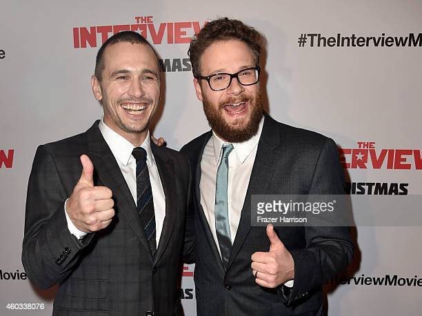Actors James Franco and Seth Rogen attend the premiere Of Columbia Pictures' 'The Interview' at The Theatre at Ace Hotel Downtown LA on December 11...