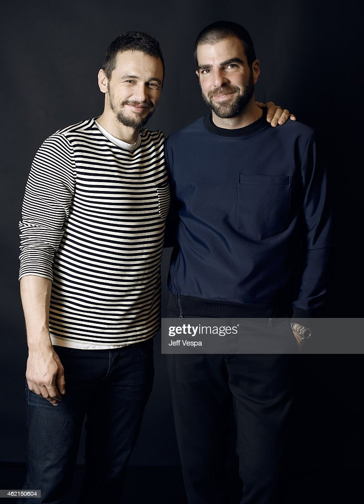 Actors James Franco (L) and Zachary Quinto of 'I Am Michael' pose for a portrait at the Village at the Lift Presented by McDonald's McCafe during the 2015 Sundance Film Festival on January 25, 2015 in Park City, Utah.