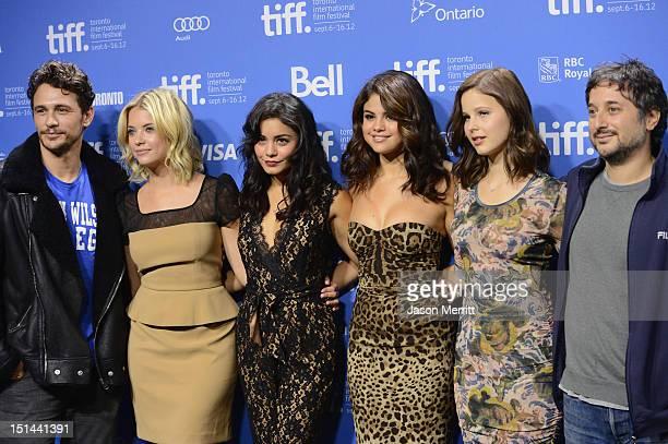 Actors James Franco Ashley Benson Vanessa Hudgens Selena Gomez Rachel Korine and director Harmony Korine attend the 'Spring Breakers' photo call...