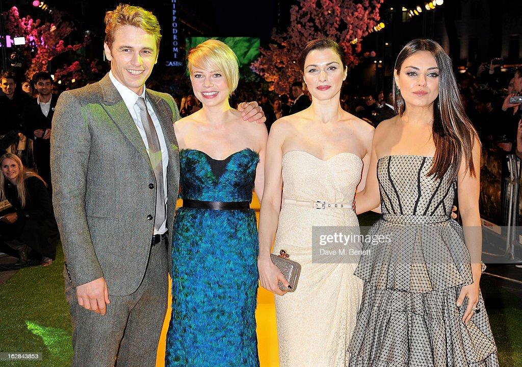 Actors James Franco, Michelle Williams, Rachel Weisz and Mila Kunis attend the European Premiere of 'Oz: The Great and Powerful' at Empire Leicester Square on February 28, 2013 in London, England.