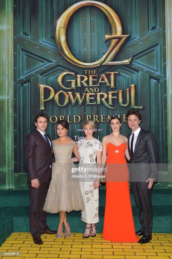 Actors James Franco, Mila Kunis, Michelle Williams, Rachel Weisz and Zach Braff attend Walt Disney Pictures World Premiere of 'Oz The Great And Powerful' - Red Carpet at the El Capitan Theatre on February 13, 2013 in Hollywood, California.