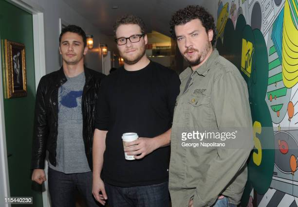 Actors James Franco Seth Rogen and Danny McBride visit MTV's 'TRL' at the MTV studios in Times Square on August 5 2008 in New York City