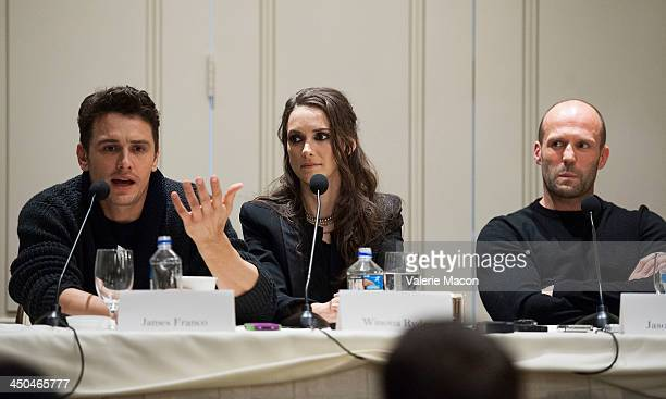 Actors James Franco Winona Ryder and Jason Statham attend the 'Homefront' Los Angeles press conference and photo call at Four Seasons Hotel Los...