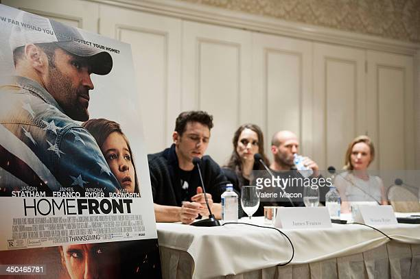 Actors James Franco Winona Ryder Jason Statham and Kate Bosworth attend the 'Homefront' Los Angeles press conference and photo call at Four Seasons...