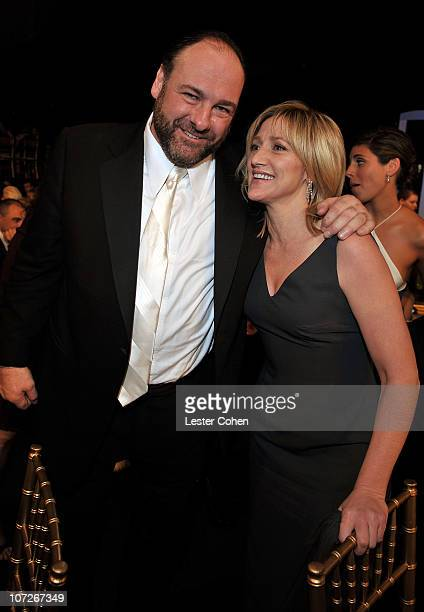 Actors James Gandolfini and Edie Falco backstage at the TNT/TBS broadcast of the 14th Annual Screen Actors Guild Awards at the Shrine Auditorium on...