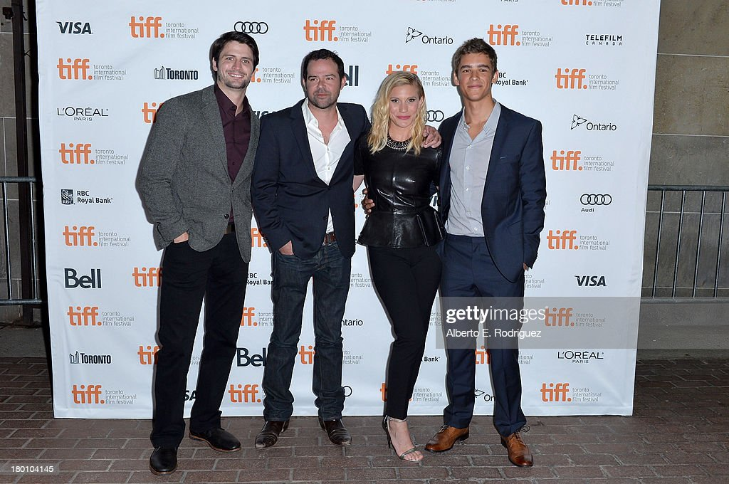 Actors James Lafferty, Rory Cochrane, Katee Sackhoff and Brenton Thwaites attend the 'Oculus' premiere during the 2013 Toronto International Film Festival at Ryerson Theatre on September 8, 2013 in Toronto, Canada.