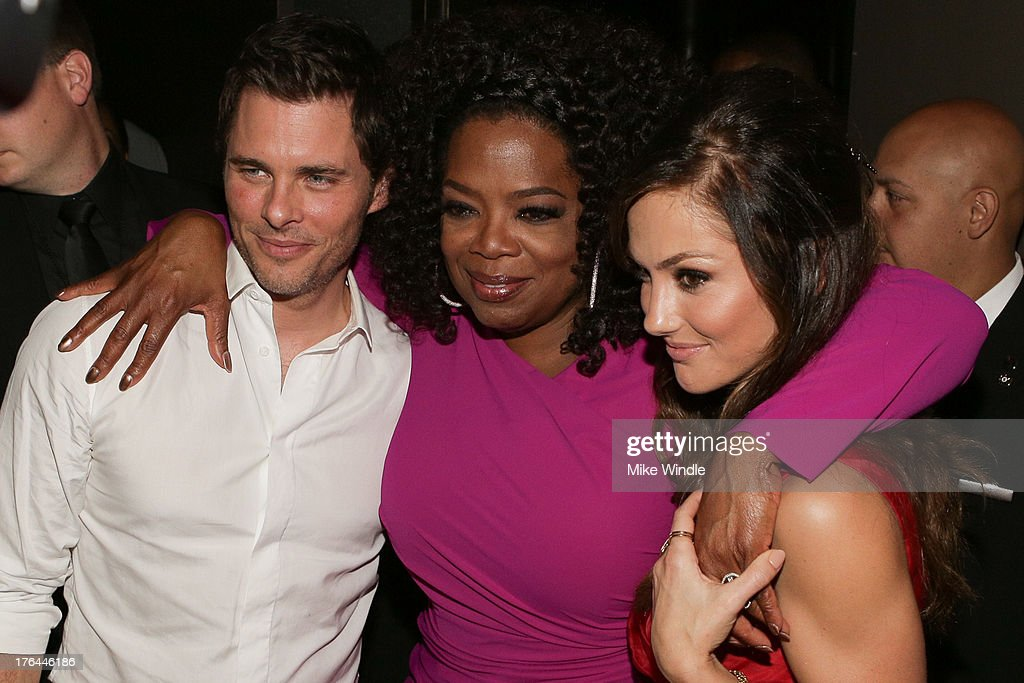 L-R) Actors James Marsden, Oprah Winfrey and Minka Kelly attend the after party for LEE DANIELS' THE BUTLER Los Angeles premiere, hosted by TWC, Budweiser and FIJI Water, Purity Vodka and Stack Wines, held at the Ritz-Carlton on August 12, 2013 in Los Angeles, California.