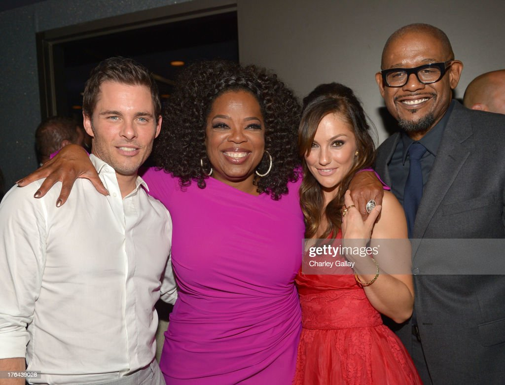 Actors <a gi-track='captionPersonalityLinkClicked' href=/galleries/search?phrase=James+Marsden&family=editorial&specificpeople=206902 ng-click='$event.stopPropagation()'>James Marsden</a>, <a gi-track='captionPersonalityLinkClicked' href=/galleries/search?phrase=Oprah+Winfrey&family=editorial&specificpeople=171750 ng-click='$event.stopPropagation()'>Oprah Winfrey</a>, <a gi-track='captionPersonalityLinkClicked' href=/galleries/search?phrase=Minka+Kelly&family=editorial&specificpeople=632847 ng-click='$event.stopPropagation()'>Minka Kelly</a>, and <a gi-track='captionPersonalityLinkClicked' href=/galleries/search?phrase=Forest+Whitaker&family=editorial&specificpeople=226590 ng-click='$event.stopPropagation()'>Forest Whitaker</a> attend the after party for LEE DANIELS' THE BUTLER Los Angeles premiere, hosted by TWC, Budweiser and FIJI Water, Purity Vodka and Stack Wines, held at the Ritz-Carlton on August 12, 2013 in Los Angeles, California.