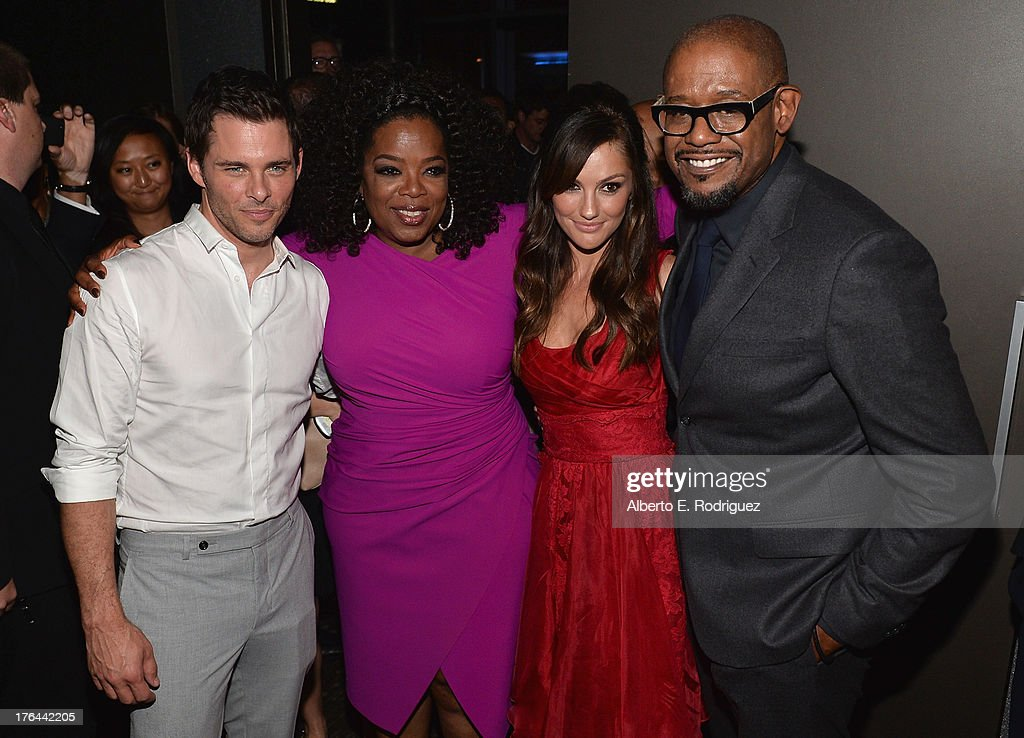 Actors <a gi-track='captionPersonalityLinkClicked' href=/galleries/search?phrase=James+Marsden&family=editorial&specificpeople=206902 ng-click='$event.stopPropagation()'>James Marsden</a>, <a gi-track='captionPersonalityLinkClicked' href=/galleries/search?phrase=Oprah+Winfrey&family=editorial&specificpeople=171750 ng-click='$event.stopPropagation()'>Oprah Winfrey</a>, <a gi-track='captionPersonalityLinkClicked' href=/galleries/search?phrase=Minka+Kelly&family=editorial&specificpeople=632847 ng-click='$event.stopPropagation()'>Minka Kelly</a> and Forest Whitaker attend the after party for the Premiere Of The Weinstein Company's 'Lee Daniels' The Butler' at Regal Cinemas L.A. Live on August 12, 2013 in Los Angeles, California.