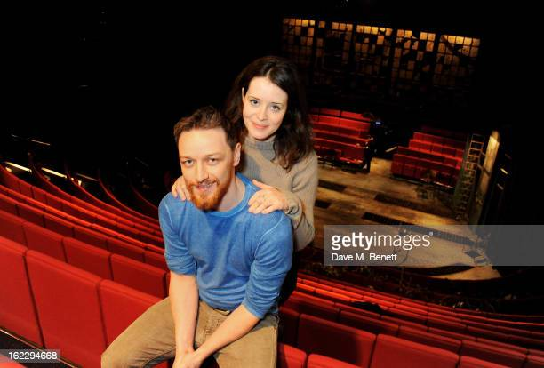 Actors James McAvoy and Claire Foy pose for a photocall launching the Trafalgar Studios season with 'Macbeth' on February 21 2013 in London England