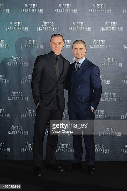 Actors James McAvoy and Daniel Radcliffe attend the 'Victor Frankenstein' Mexico City premiere at Expo Bancomer on November 14 2015 in Mexico City...