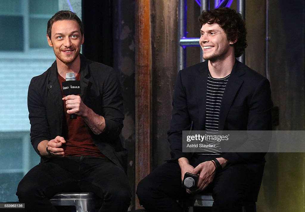 Actors <a gi-track='captionPersonalityLinkClicked' href=/galleries/search?phrase=James+McAvoy&family=editorial&specificpeople=647005 ng-click='$event.stopPropagation()'>James McAvoy</a> and <a gi-track='captionPersonalityLinkClicked' href=/galleries/search?phrase=Evan+Peters&family=editorial&specificpeople=2301160 ng-click='$event.stopPropagation()'>Evan Peters</a> attend AOL Build Presents: The Cast Of 'X-Men: Apocalypse' at AOL Studios In New York on May 24, 2016 in New York City.